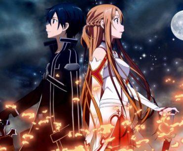 Imagen de 'Sword Art Online' con Kirito y Alice juntando sus espaldas mientras son envueltos en llamas negras y rojas y en el fondo se ve la noche con la luna llena en la.parte superior derecha.