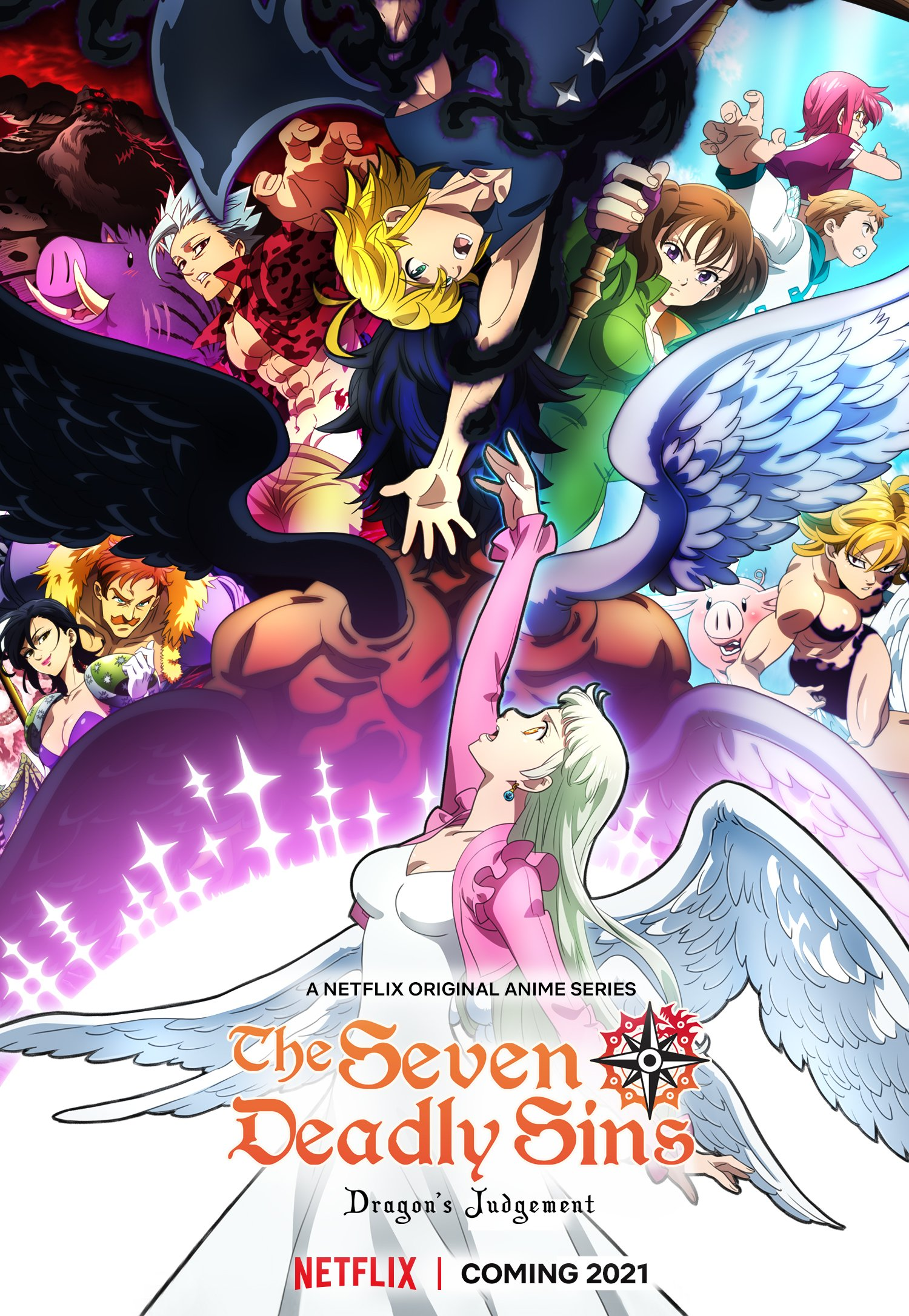 Imagen promocional oficial de 'Nanatsu no Taizai Fundo no Shinpan' con todos los protagonistas alrededor de Elizabeth y Meliodas quienes estiran sus brazos para alcanzarse el uno al otro.