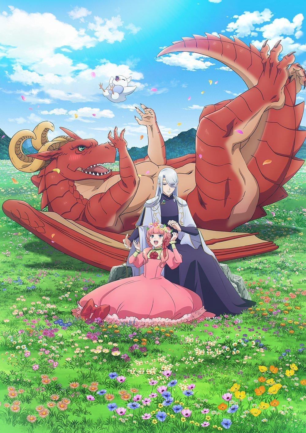 Imagen promocional oficial de 'Dragon Ie wo Kau' con Letty de espaldas en el pasto y frente a él Dearios y Nell sentados plácidamente mientras al fondo se ven montañas y el cielo azul con nubes.