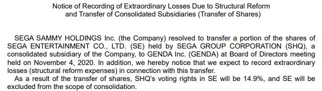 Transcripción de la venta de activos de Sega Sammy Holdings al grupo GENDA