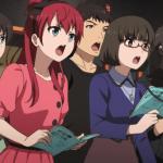 Imagen tomada del anime Shirobako con varios seiyuus reunidos frente a micrófonos mientras interpretan sus líneas.