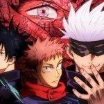 Imagen promocional de 'Jujutsu Kaisen' con los protagonistas en el centro de la imagen y al fondo el ojo de Sukuna cubierto de manos en color rojo