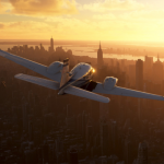 Avioneta sobre Nueva York en Microsoft Flight Simulator.