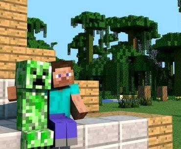 Dos personajes de Minecraft en medio de un bonito escenario con árboles
