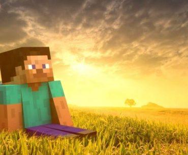 Protagonista de Minecraft en medio de un campo en pleno atardecer