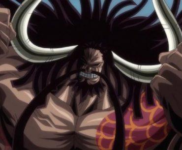 Imagen de Kaido de One Piece con un primer plano de su rostro con una expresión de victoria y los brazos flexionados con los puños hacia arriba.