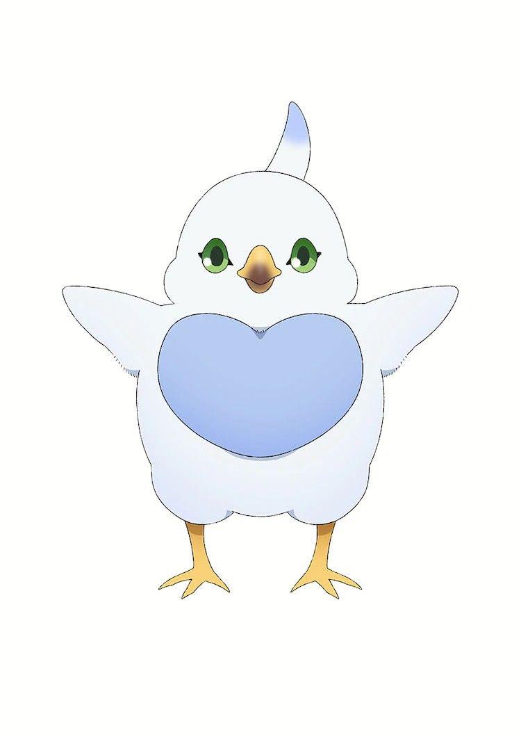 Imagen de Pip de 'Dragon Ie wo Kau' con sus alas extendidas en un fondo blanco.