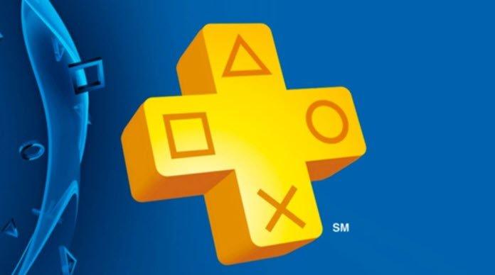 Logo de PlayStation Plus de color amarillo con un fondo azul