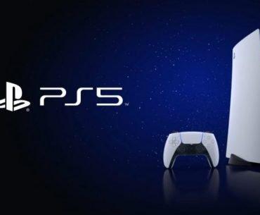 Logotipo y consola PlayStation 5 en un fondo espacial azul profundo y negro