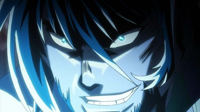 Imagen oficial de Getter Robo Āḥ con el protagonista en un primer plano, con una sonrisa llena de malicia en el rostro iluminado en azul.