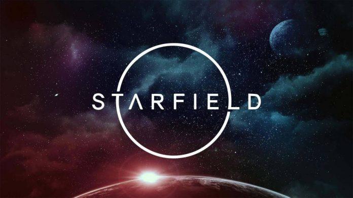 Logo de Starfield con el espacio al fondo y la luz del sol en la parte baja