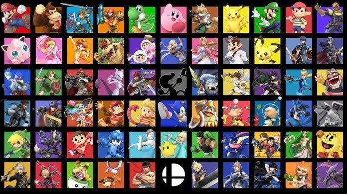 Collage hecho con todos los personajes disponibles dentro de Super Smash Bros. Ultimate