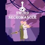 Imagen central de Sword of the Necromancer con sus protagonistas en pixelart en un fondo violeta