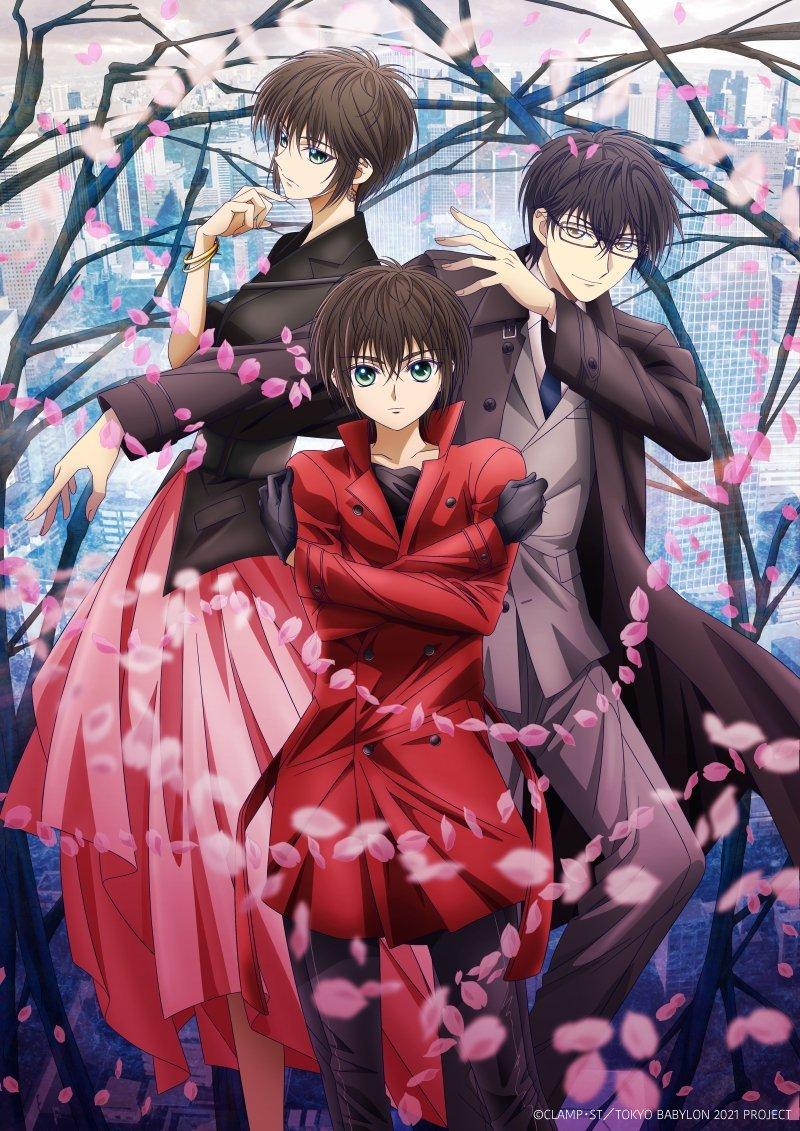 Imagen promocional oficial de 'Tokyo Babylon 2021' con los tres protagonistas posando espalda contra espalda mientras pétalos de flores cubriéndoles.