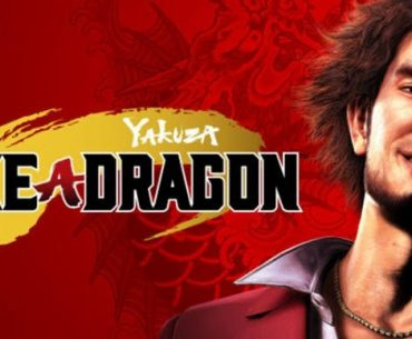 Protagonista de Yakuza Like a Dragon acompañado del logo y un fondo rojo