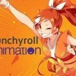 Imagen de la mascota de Crunchyroll con el puño extendido y sonriendo con los logos de Crunchyroll y Funimation en fondo naranja