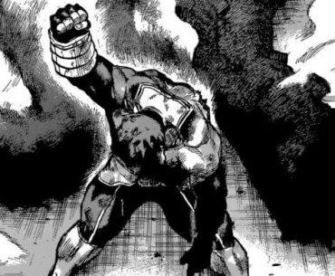 Imagen tomada del manga 'Boku no Hero Academia' con Endeavor de rodillas y alzando el brazo derecho con el puño apretado en blanco y negro.