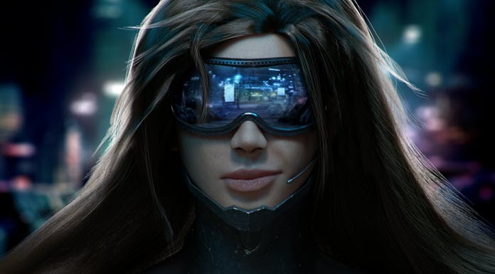 Una mujer de 'Cyberpunk 2077' con unos vistosos lentes