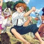 Imagen tomada de 'Fushigi no Umi no Nadia' con los protagonistas disfrutando de un día de pesca.