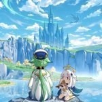 Dos personajes de Genshin Impact con una hermosa vista y unos dragones sobrevolando