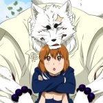 Imagen tomada del manga de 'Gingitsune' con Makoto y sentada mientras abraza sus piernas y Gintarou apoya su mentón en la.cabeza de su compañera.
