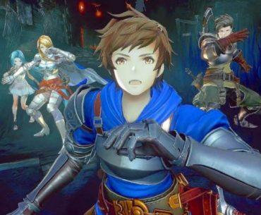 Imagen tomada de 'Granblue Fantasy Relink' con los protagonistas con expresión de sorpresa en un escenario repleto de humo.