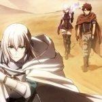 Imagen promocional de 'Fate/Grand Order: Shinsei Entaku Ryouiki Camelot 1 - Wandering; Agateram' con los protagonistas atravesando un desierto árido.