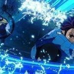 Imagen tomada de 'Kimetsu no Yaiba: Keppuu Kengeki Royale' con Tanjiro cortando un demonio usando la respiración de agua.