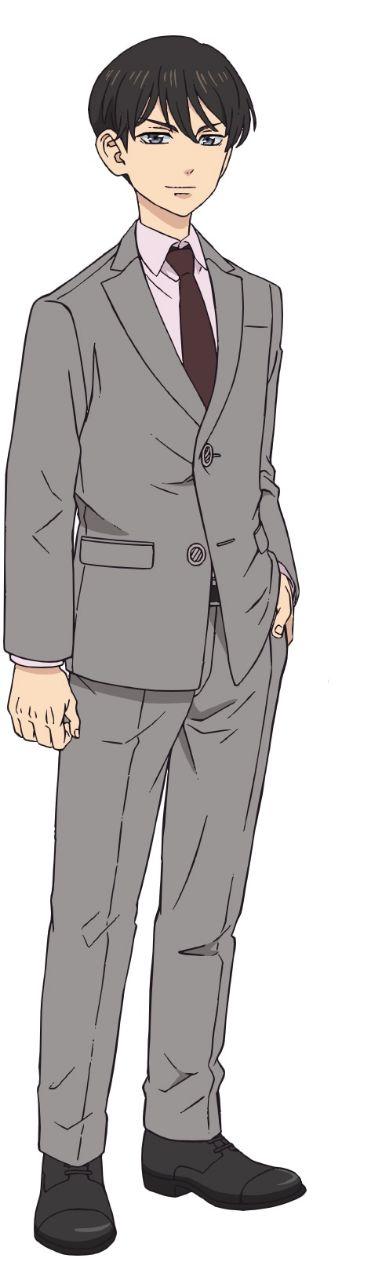 Diseño de personaje de Naoto Tachibana de cuerpo completo en un fondo blanco