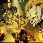 Imagen oficial de 'Shingeki no Kyojin The Final Season con Titanes enfrentándose al fondo mientras el cuerpo de la exploración corre hacia la cámara para escapar de la batalla.