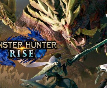 Portada de Monster Hunter Rise, con tres cazadores cazando a una bestia gigantesca