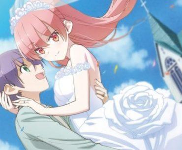 Imagen promocional de Tonikawa con Nasa cargando a Tsukasa en su vestido de matrimonio frente a la iglesia.