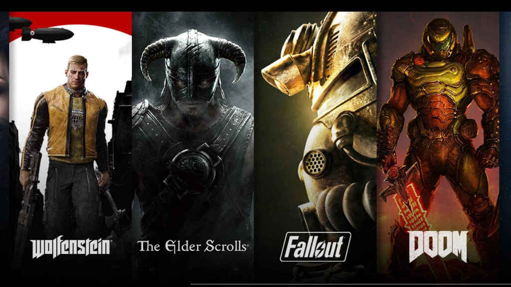 Catálogo de Bethesda con DOOM, Fallout, Elder Scrolls y Wolfenstein.