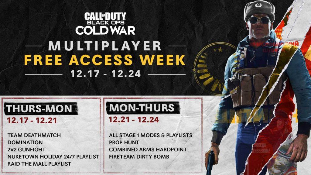 Fechas de acceso gratuio de Call of Duty: Black Ops Cold War.