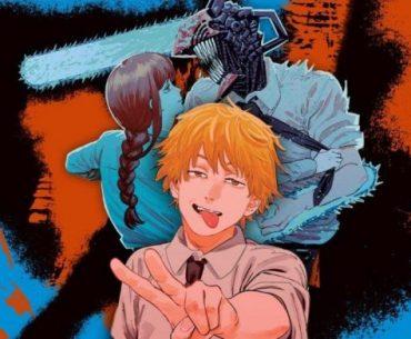 Imagen de la portada de la Weekly Shonen Jump con Denji haciendo el símbolo de la paz mientras al fondo pelea contra Makima transformado en el hombre motosierra.