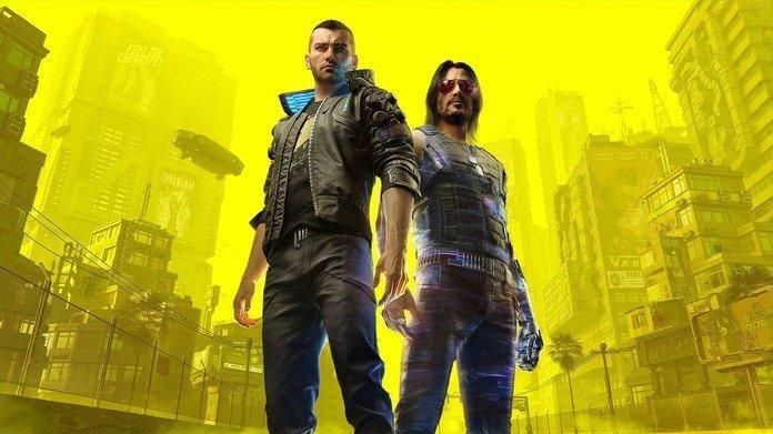 Imagen promocional de Cyberpunk 2077 con V y Johnny Silverhand.