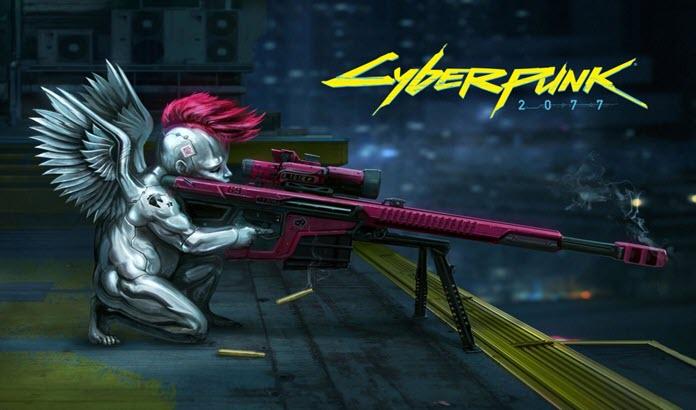 Una misteriosa criatura disparando un rifle con el logo de 'Cyberpunk 2077'