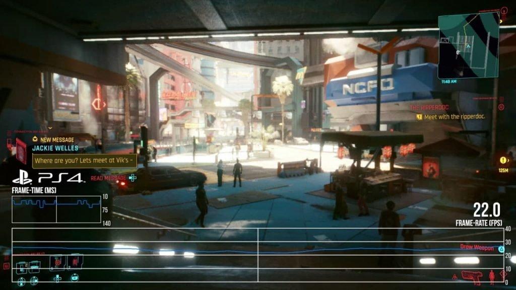 Captura de pantalla de Cyberpunk 2077 corriendo a 28fps y con calidad de imagen baja