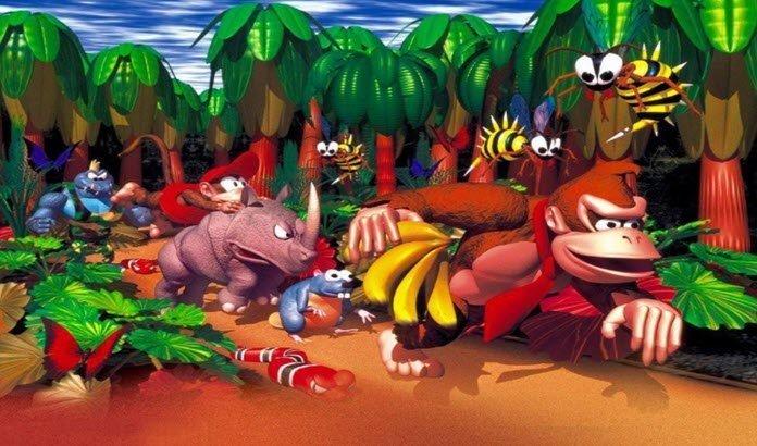 Donkey Kong escapando con unos plátanos de unos enemigos