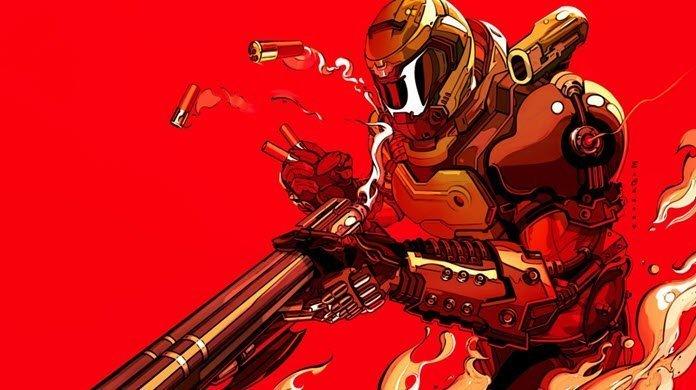 Protagonista de DOOM Eternal con su arma en un fondo rojo