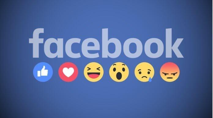 Logo de Facebook con sus respectivas reacciones de emoji