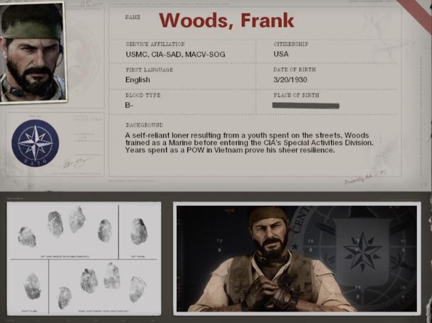 Ficha de personaje de Frank Woods.