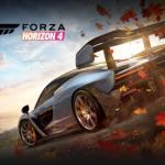 Portada de Forza Horizon 4, con dos autos compitiendo en un atardecer