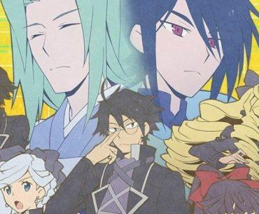 Imagen promocional oficial de 'Log Horizon: Entaku Houkai' con los protagonistas mirando a la cámara en un fondo amarillo.