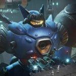 Imagen tomada de los adelantos de 'Megaton Musashi' con el protagonista de medio lado en una toma de la cintura robótica para arriba mientras está en lo que parece un hangar.