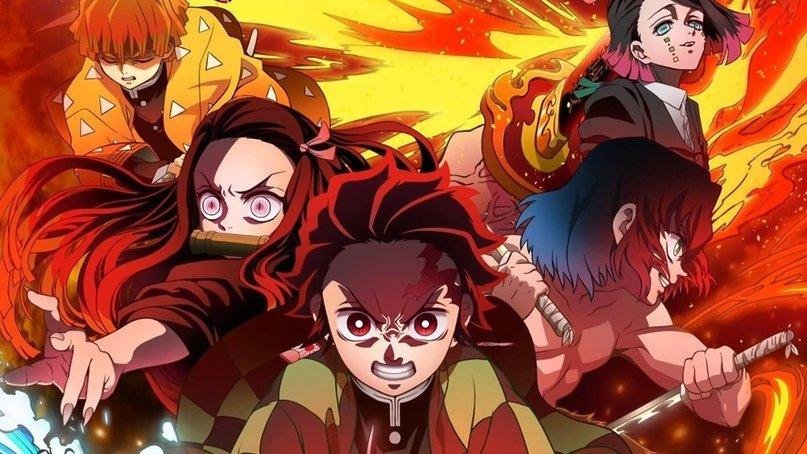 Imagen promocional de 'Kimetsu no Yaiba Movie Mugen Ressha-hen' con los protagonistas distribuidos en un triángulo invertido mientras son cubiertos por llamas.