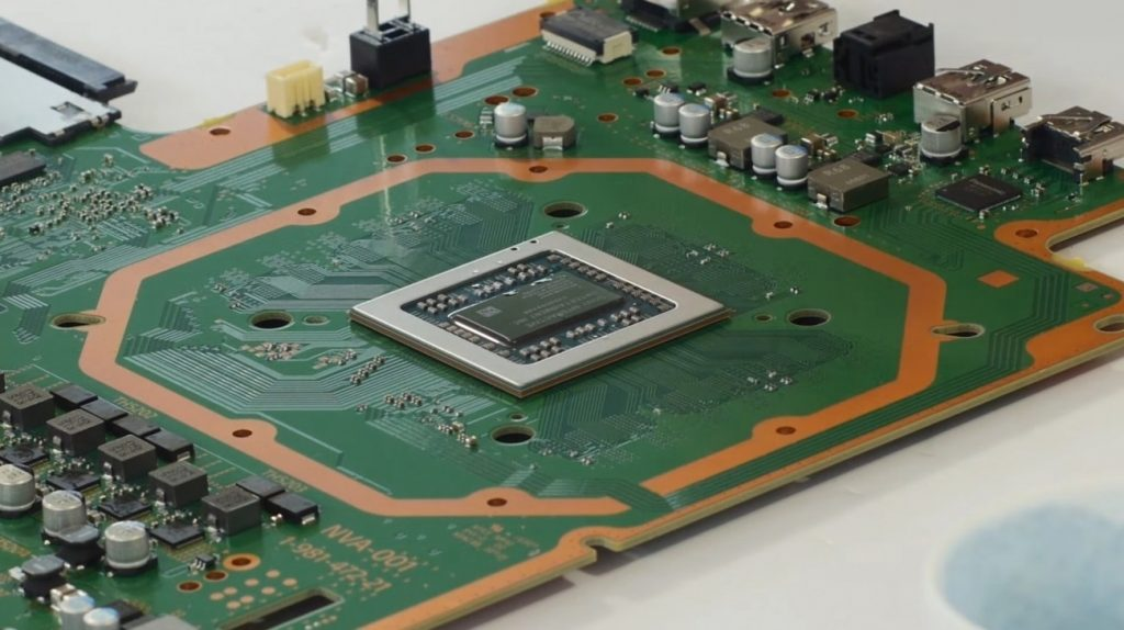Chip de PS5 en tarjeta madre.