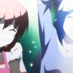 Imagen tomada del anime de 'Tonikawa' con Tsukasa y Aya celebrando baño luces de neon.