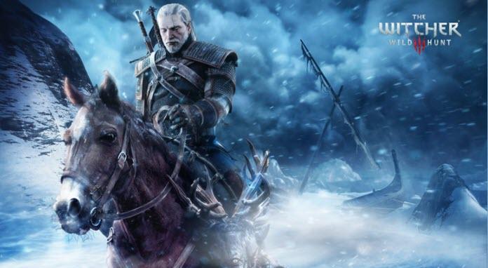 Gerald de Rivia, protagonista de The Witcher 3 montado a caballo