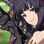 Imagen tomada del tráiler de Yuel de 'Granblue Fantasy Versus' con la luchadora de perfil y sonriendo a la cámara con las manos en forma de garza mientas al fondo se ve un prado verde